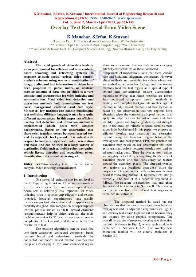 K.Manohar, S.Irfan, K.Sravani / International Journal of Engineering Research and                   Applications (IJERA) I...