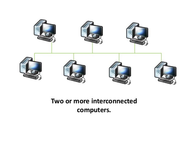 Two or more interconnected computers.