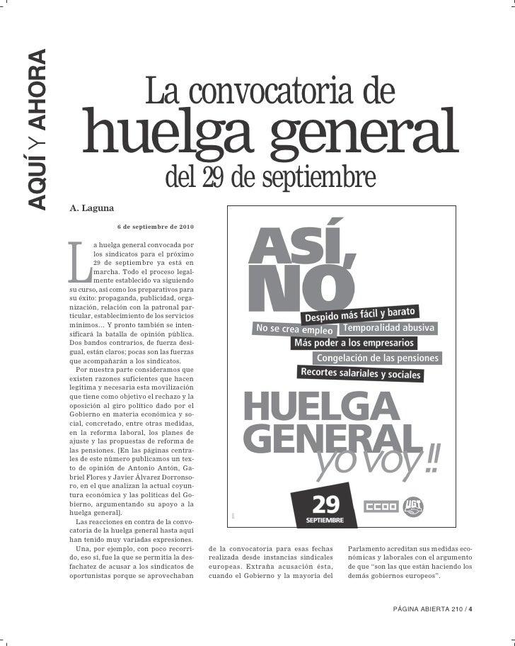 AQUÍ Y AHORA                                          La convocatoria de                    huelga general                ...