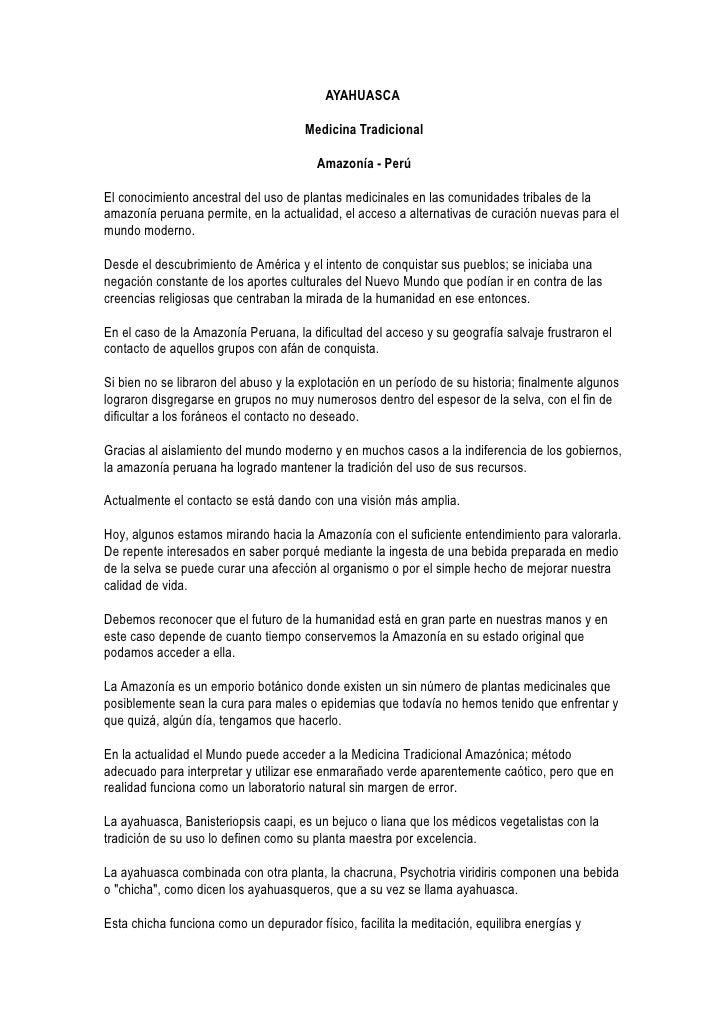 AYAHUASCA                                        Medicina Tradicional                                          Amazonía - ...