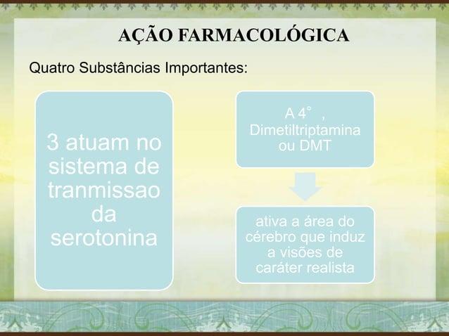 AÇÃO FARMACOLÓGICA Quatro Substâncias Importantes: 3 atuam no sistema de tranmissao da serotonina A 4°, Dimetiltriptamina ...