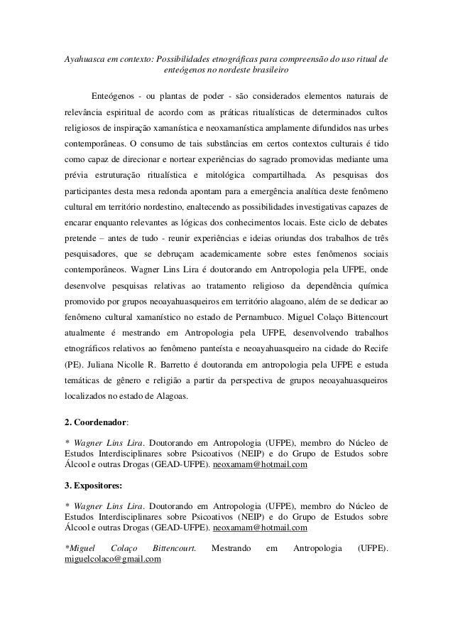 Ayahuasca em contexto: Possibilidades etnográficas para compreensão do uso ritual de enteógenos no nordeste brasileiro Ent...