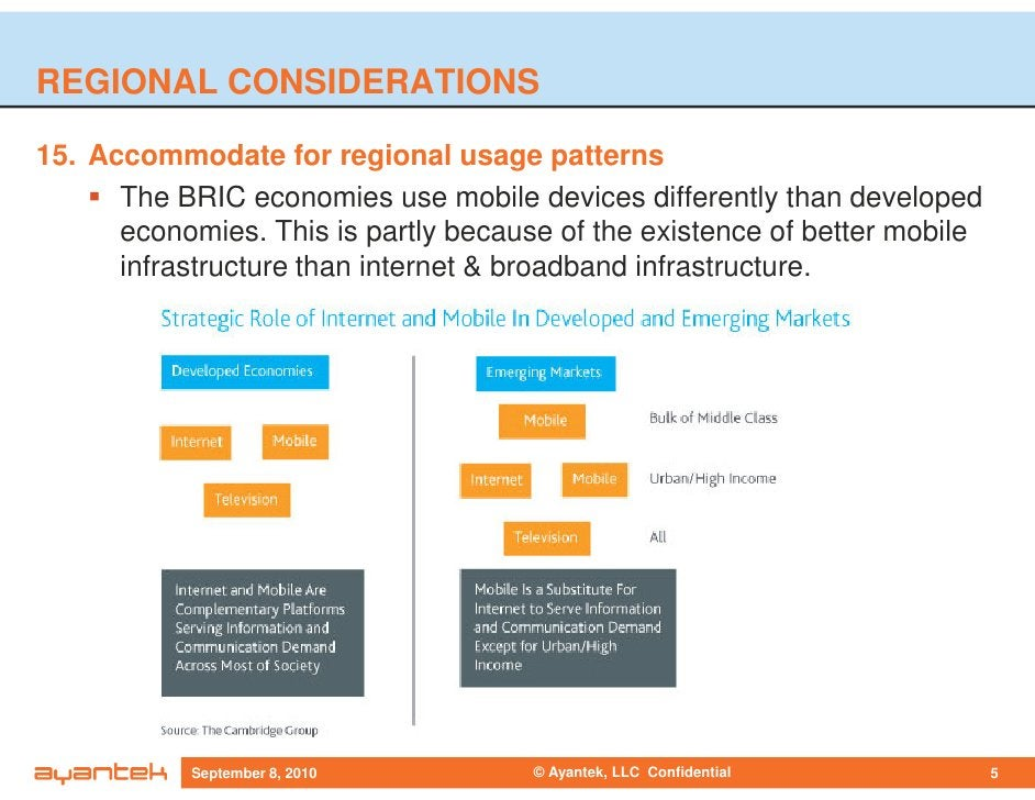REGIONAL CONSIDERATIONS  15. Accommodate for regional usage patterns       The BRIC economies use mobile devices different...