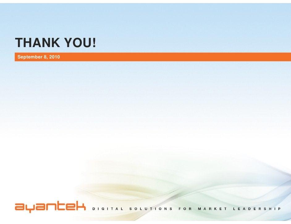 THANK YOU! September 8, 2010