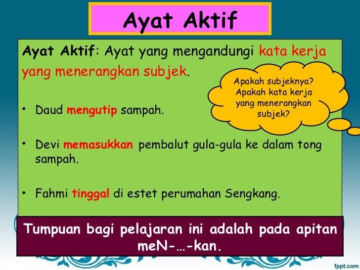 Copy Of Bahasa Melayu Ayat Aktif Dan Ayat Pasif Lessons Tes Teach