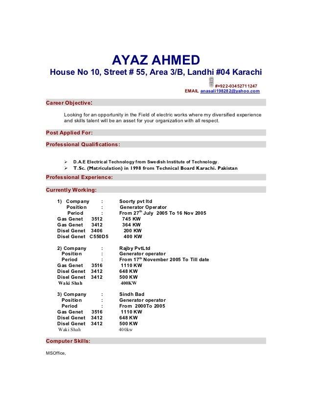 AYAZ AHMED House No 10, Street # 55, Area 3/B, Landhi #04 Karachi                                                         ...
