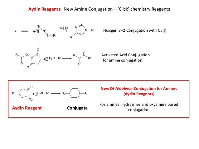 Aydin Reagents: New Amine Conjugation – 'Click' chemistry Reagents Huisgen 3+2 Conjugation with Cu(I) Activated Acid Conju...