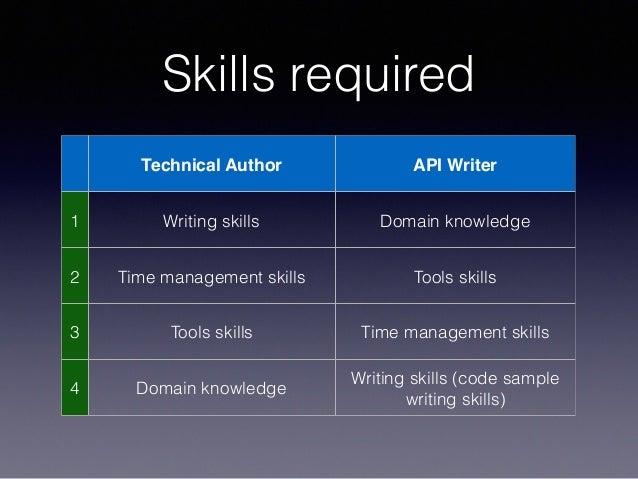 Skills required Technical Author API Writer 1 Writing skills Domain knowledge 2 Time management skills Tools skills 3 Tool...
