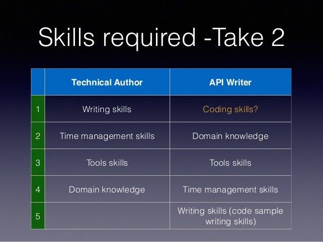 Skills required -Take 2 Technical Author API Writer 1 Writing skills Coding skills? 2 Time management skills Domain knowle...