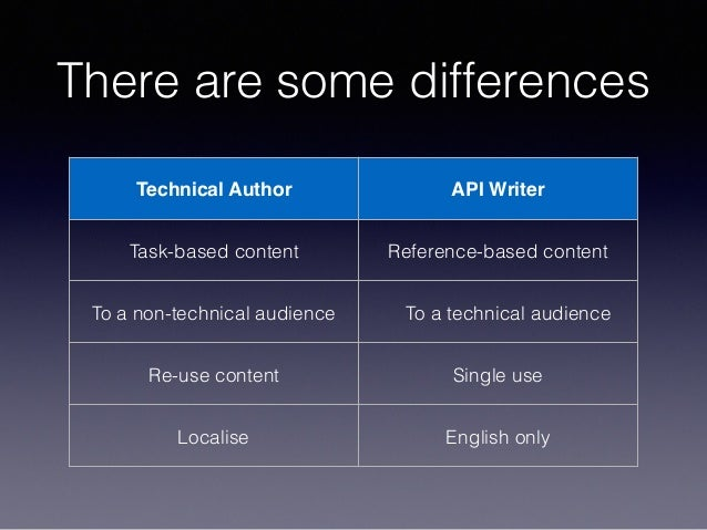 There are some differences Technical Author API Writer Task-based content Reference-based content To a non-technical audie...