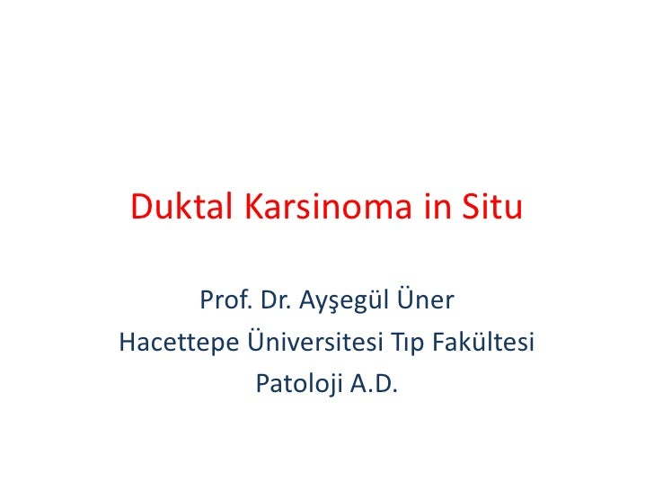 Duktal Karsinoma in Situ      Prof. Dr. Ayşegül ÜnerHacettepe Üniversitesi Tıp Fakültesi           Patoloji A.D.