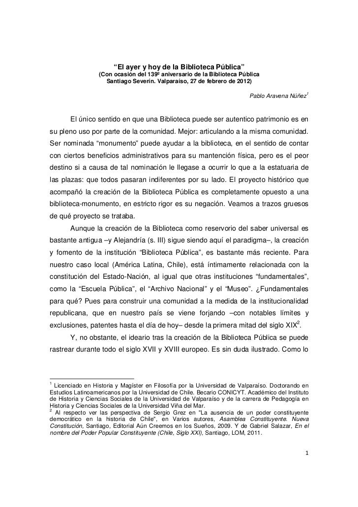 """""""El ayer y hoy de la Biblioteca Pública""""                  (Con ocasión del 139º aniversario de la Biblioteca Pública      ..."""