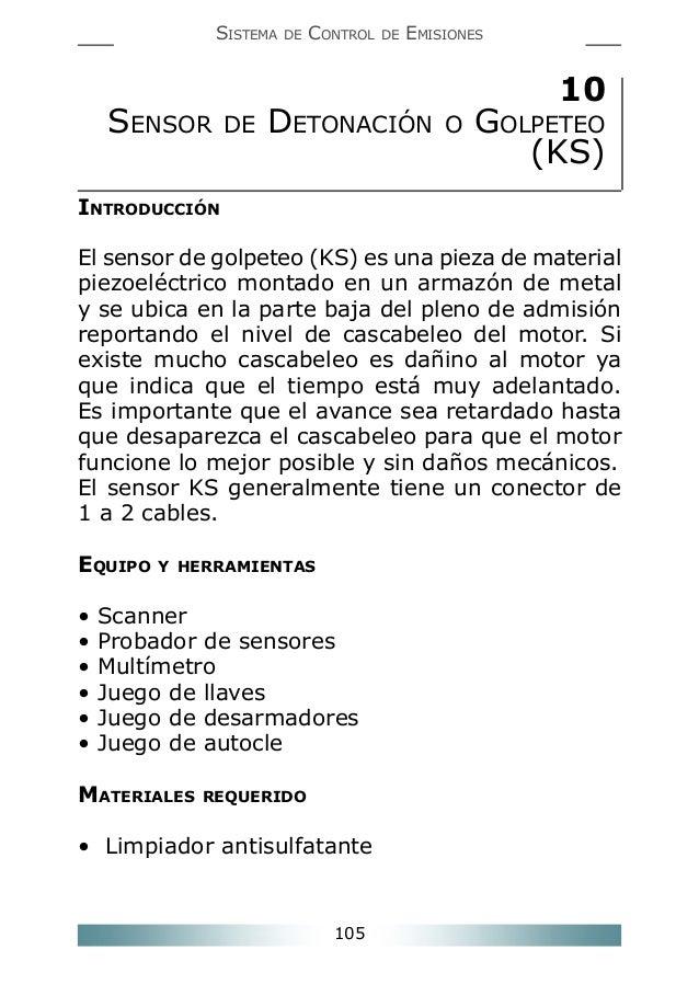 SISTEMA  SENSOR  DE  DE  CONTROL  DE  EMISIONES  DETONACIÓN  10  O  GOLPETEO (KS)  INTRODUCCIÓN El sensor de golpeteo (KS)...