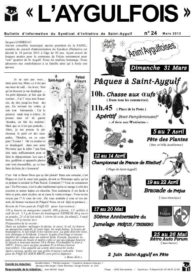 « L'AYGULFOIS »Bulletin d'information du Syndicat d'initiative de Saint -Aygulf                                           ...