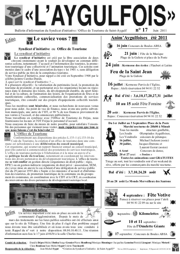 Bulletin dinformation du Syndicat dinitiative / Office de Tourisme de Saint-Aygulf                                        ...