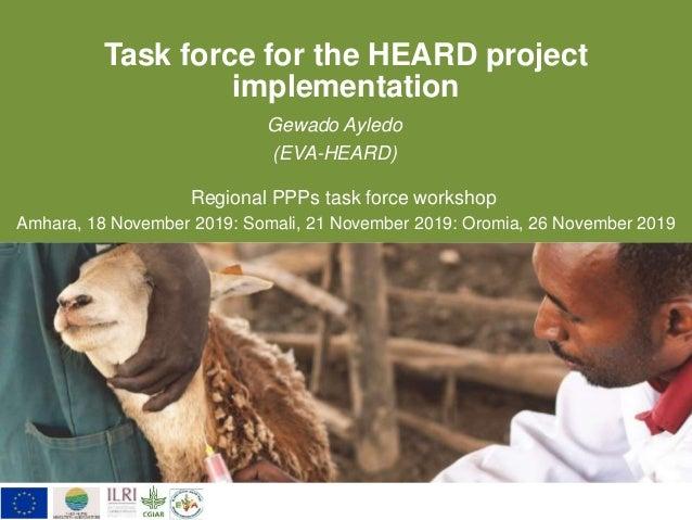 Task force for the HEARD project implementation Gewado Ayledo (EVA-HEARD) Regional PPPs task force workshop Amhara, 18 Nov...