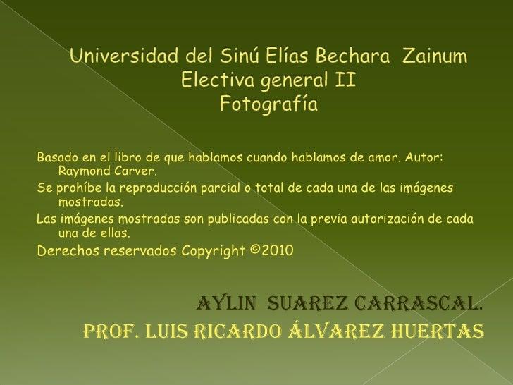 Universidad del Sinú Elías Bechara  ZainumElectiva general IIFotografía<br />Basado en el libro de que hablamos cuando hab...