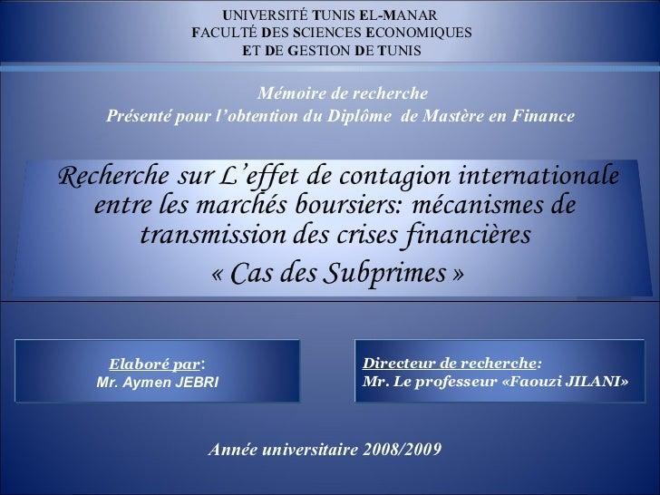 UNIVERSITÉ TUNIS EL-MANAR                  FACULTÉ DES SCIENCES ECONOMIQUESLOGO                   ET DE GESTION DE TUNIS  ...