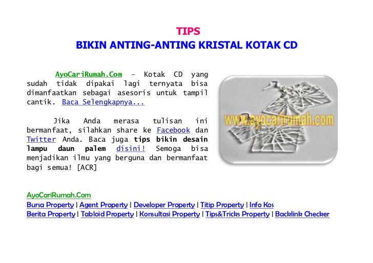 TIPS               BIKIN ANTING-ANTING KRISTAL KOTAK CD       AyoCariRumah.Com – Kotak CD yangsudah tidak dipakai lagi ter...