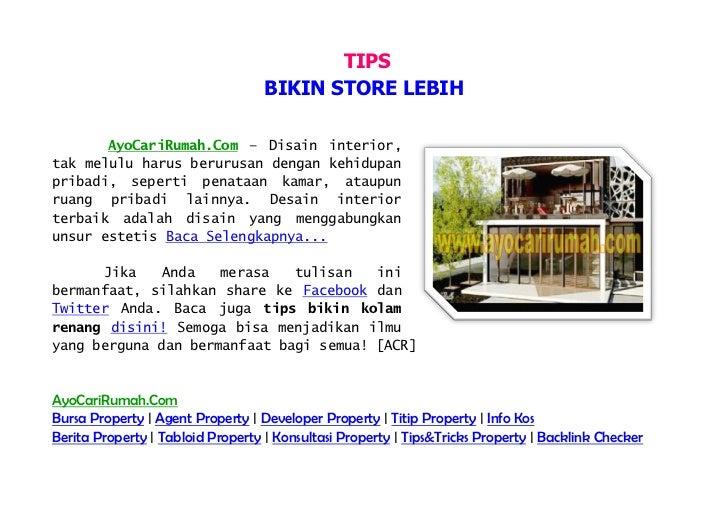 TIPS                                   BIKIN STORE LEBIH       AyoCariRumah.Com – Disain interior,tak melulu harus berurus...