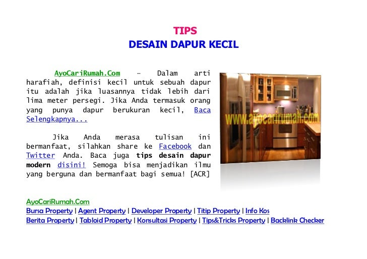 TIPS                                 DESAIN DAPUR KECIL       AyoCariRumah.Com   –    Dalam                  artiharafiah,...