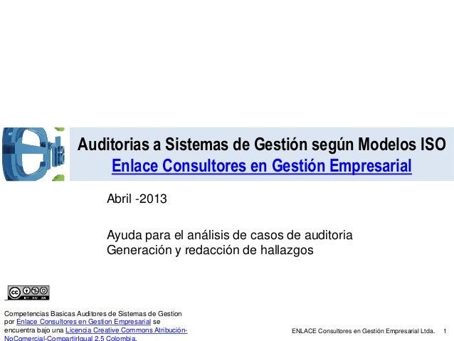 Auditorias a Sistemas de Gestión según Modelos ISO                          Enlace Consultores en Gestión Empresarial     ...