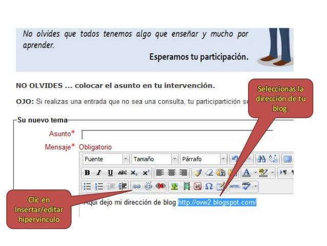 Seleccionas la dirección de tu blog.  Clic en Insertar/editar hipervínculo