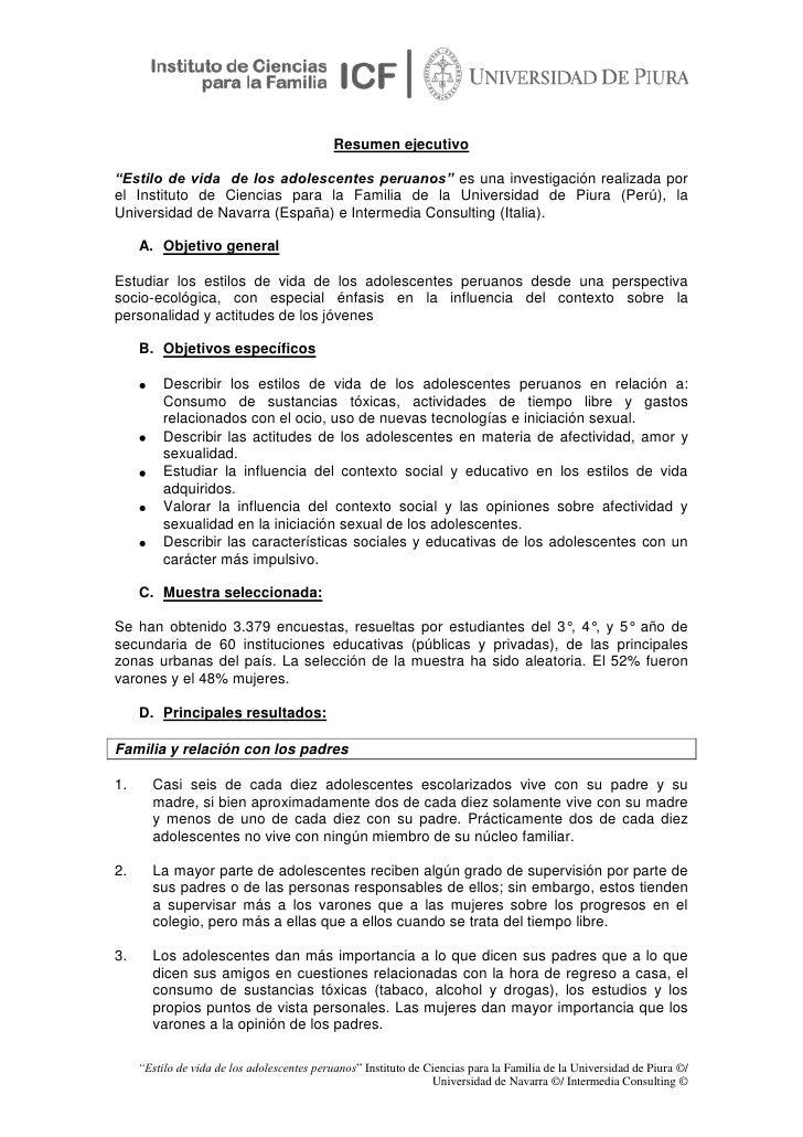 """Resumen ejecutivo <br />""""Estilo de vida  de los adolescentes peruanos"""" es una investigación realizada por el Instituto de ..."""
