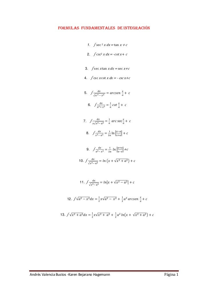 Formulas  fundamentales  de integración<br />∫ sec 2 x dx = tan x + c<br />∫ csc2 x dx = -cot x + c<br />∫ sec x tan x dx ...