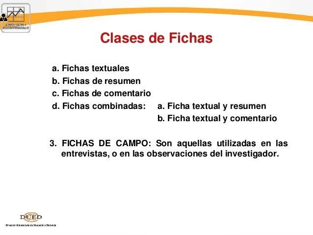 Clases de Fichas a. Fichas textuales b. Fichas de resumen c. Fichas de comentario d. Fichas combinadas: a. Ficha textual y...