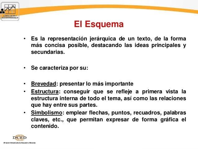 El Esquema • Es la representación jerárquica de un texto, de la forma más concisa posible, destacando las ideas principale...