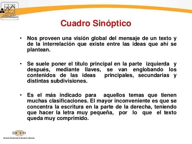 Cuadro Sinóptico • Nos proveen una visión global del mensaje de un texto y de la interrelación que existe entre las ideas ...