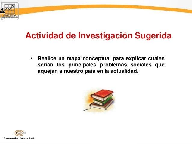 Actividad de Investigación Sugerida • Realice un mapa conceptual para explicar cuáles serían los principales problemas soc...