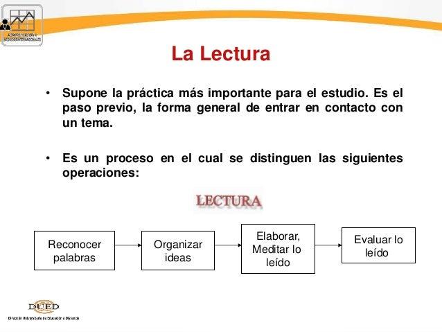 La Lectura • Supone la práctica más importante para el estudio. Es el paso previo, la forma general de entrar en contacto ...