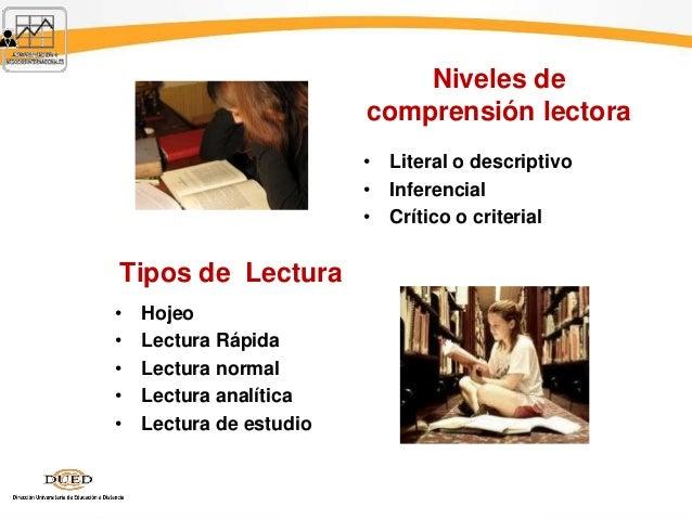 Tipos de Lectura • Hojeo • Lectura Rápida • Lectura normal • Lectura analítica • Lectura de estudio Niveles de comprensión...