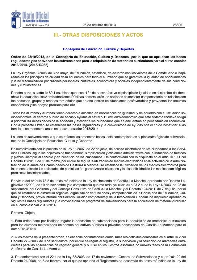 AÑO XXXII Núm. 208  25 de octubre de 2013  28626  III.- OTRAS DISPOSICIONES Y ACTOS Consejería de Educación, Cultura y Dep...