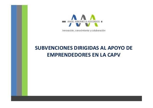 Innovación, conocimiento y colaboraciónSUBVENCIONES DIRIGIDAS AL APOYO DE    EMPRENDEDORES EN LA CAPV