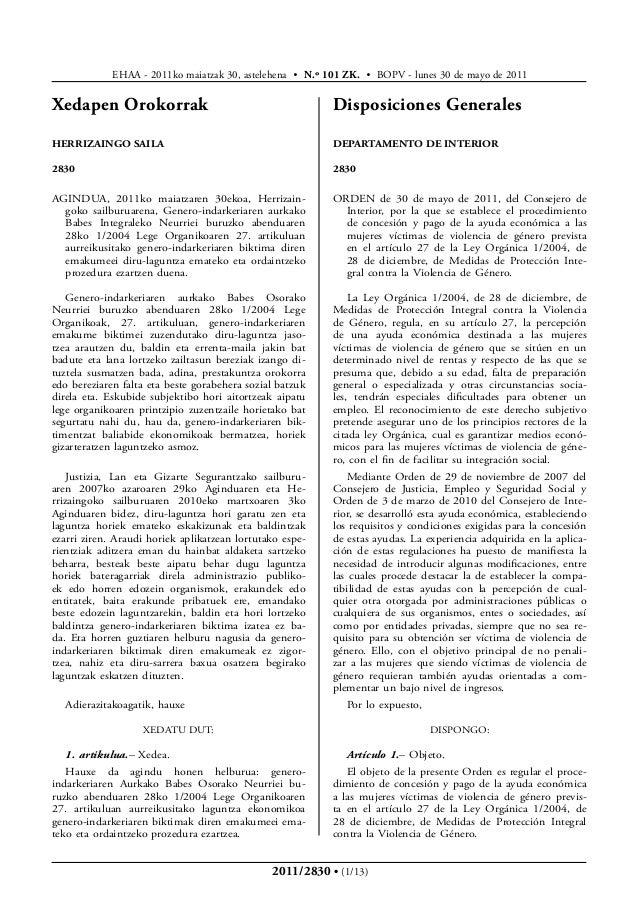 EHAA - 2011ko maiatzak 30, astelehena • N.º 101 ZK. • BOPV - lunes 30 de mayo de 2011Xedapen Orokorrak                    ...
