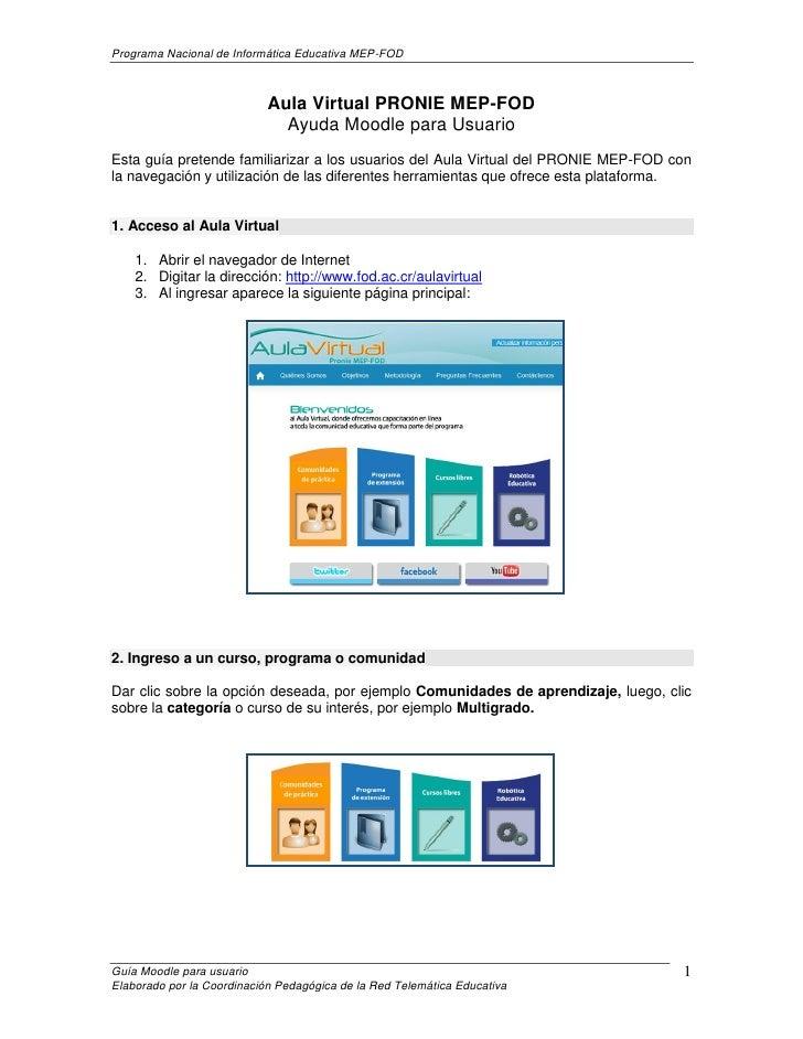 Programa Nacional de Informática Educativa MEP-FOD                            Aula Virtual PRONIE MEP-FOD                 ...