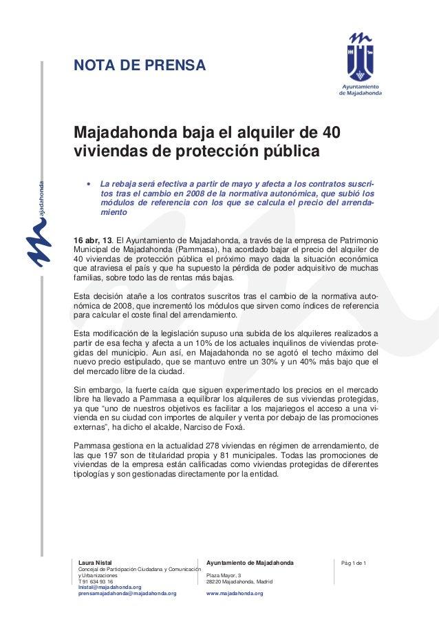 NOTA DE PRENSAMajadahonda baja el alquiler de 40viviendas de protección pública    •    La rebaja será efectiva a partir d...
