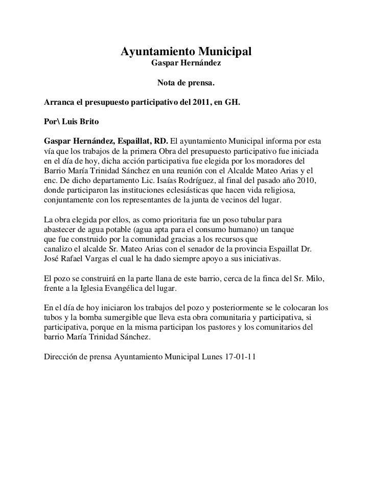 Ayuntamiento MunicipalGaspar HernándezNota de prensa.<br />Arranca el presupuesto participativo del 2011, en GH.<br />Por ...