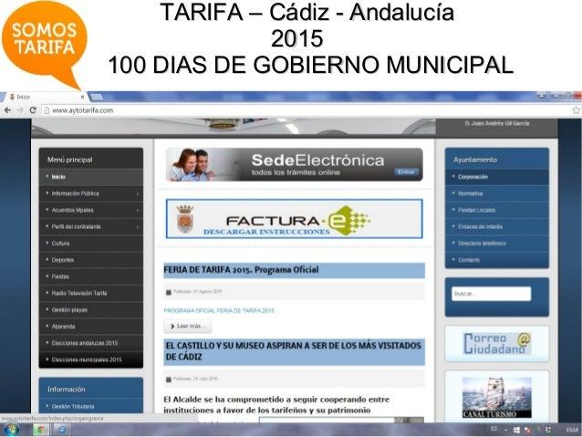 TARIFA – Cádiz - AndalucíaTARIFA – Cádiz - Andalucía 20152015 100 DIAS DE GOBIERNO MUNICIPAL100 DIAS DE GOBIERNO MUNICIPAL