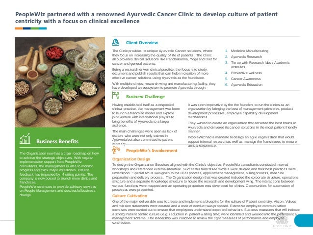 PeopleWiz partnered with a renowned Ayurvedic Cancer Clinic to develop culture of patient centricity with a focus on clini...