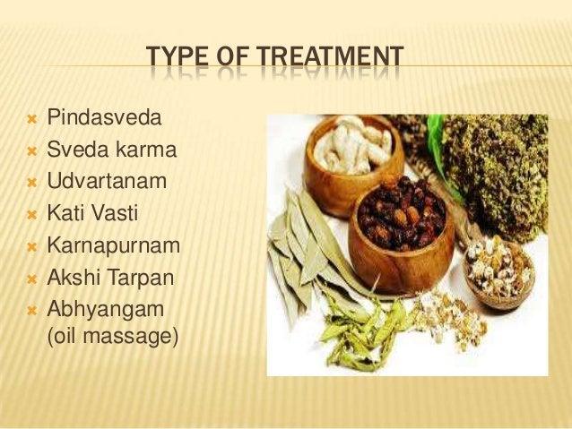 TYPE OF TREATMENT         Pindasveda Sveda karma Udvartanam Kati Vasti Karnapurnam Akshi Tarpan Abhyangam (oil mass...