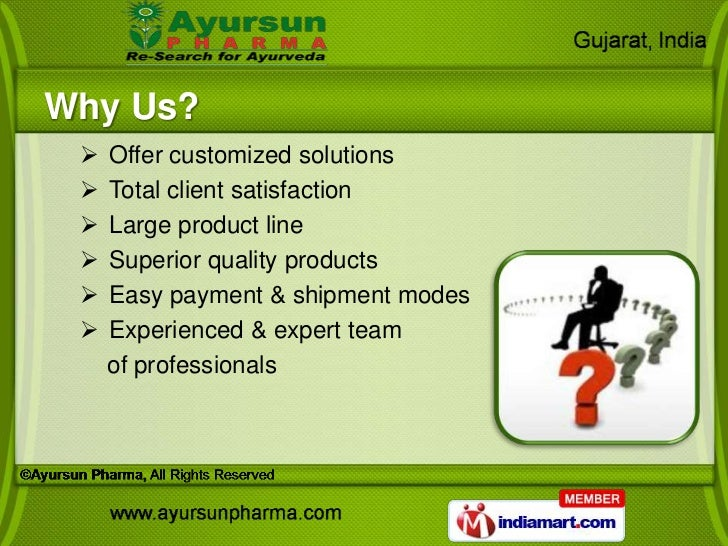 Why Us?    Offer customized solutions    Total client satisfaction    Large product line    Superior quality products ...