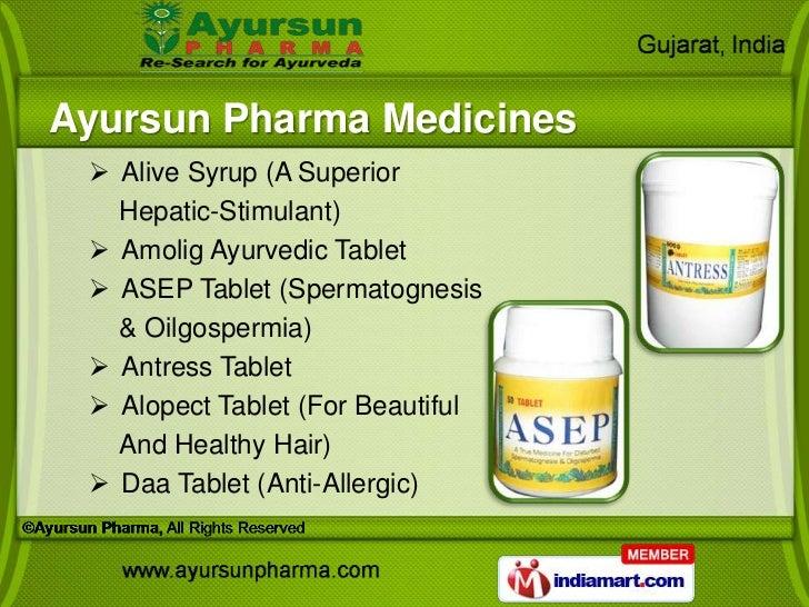 Ayursun Pharma Medicines  Alive Syrup (A Superior   Hepatic-Stimulant)  Amolig Ayurvedic Tablet  ASEP Tablet (Spermatog...