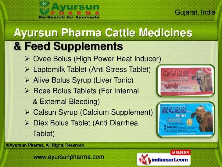 Ayursun Pharma Cattle Medicines& Feed Supplements  Ovee Bolus (High Power Heat Inducer)  Laptomilk Tablet (Anti Stress T...