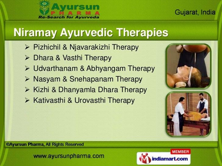 Niramay Ayurvedic Therapies    Pizhichil & Njavarakizhi Therapy    Dhara & Vasthi Therapy    Udvarthanam & Abhyangam Th...