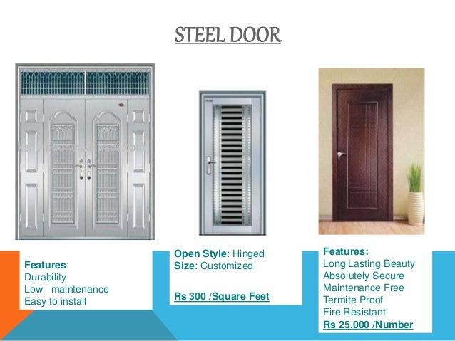 No welding Rs 3400 /Sq Mtr; 5. STEEL DOOR ...  sc 1 st  SlideShare & STEEL DOORS AND WINDOWu0027S FITTINGS