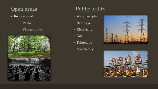 Open areas • Recreational- Parks Playgrounds Public utility • Water supply • Drainage • Electricity • Gas • Telephone • Fi...
